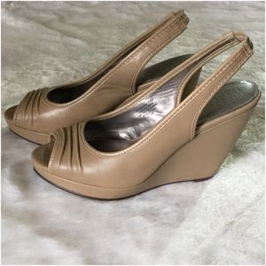 Nude peep toe sling back wedge sandal